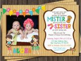 Boy Girl Twin Birthday Invitations Twins Birthday Invitation Luau Party Hawaiian by Puggyprints
