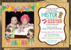 Boy Girl Twin Birthday Invitations Twins Birthday Invitation Luau Party Hawaiian by Puggyprints