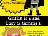 Boy Girl Twin Birthday Invitations Twins or Siblings Boy Girl Superhero Birthday Invitations