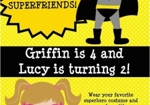 Boy Girl Twin Birthday Invitations Twins or Siblings Boy Girl Superhero Birthday Invitations