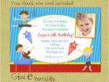 Boy Gymnastics Birthday Party Invitations Boy Gymnastics Birthday Invitation Free Thank You Card