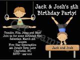Boy Gymnastics Birthday Party Invitations Boys Gymnastics Birthday Party Invitations