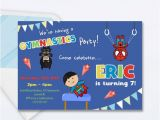 Boy Gymnastics Birthday Party Invitations Boys Gymnastics Party Invitation Superhero Gymnastics