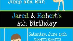 Boy Gymnastics Birthday Party Invitations Printable Birthday Invitations Twins Party Gymnastics themed