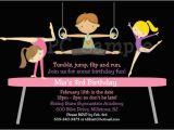 Boy Gymnastics Birthday Party Invitations Triplets Siblings Boy Girl Gymnastics Birthday Invitations