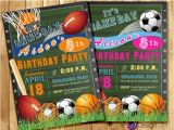 Boy Sports Birthday Invitations All Star Invitation Sports theme Boys or Girls Sports