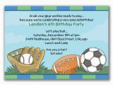 Boy Sports Birthday Invitations Items Similar to Sports Madness Invitations for Boys