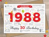 Boyfriend 30th Birthday Card 1988 Husband Happy 30th Birthday Card