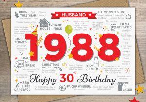 Boyfriend 30th Birthday Card 1988 Husband Happy 30th Birthday Card