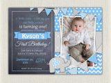Boys 1st Birthday Invites Elephant Boys Blue Grey 1st Birthday Invitation Download
