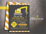Bulldozer Birthday Invitations Bull Dozer Birthday Invitation Construction Birthday Under