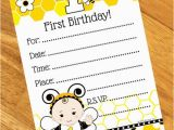 Bumble Bee 1st Birthday Invitations Bumble Bee 1st Birthday Invitation 8