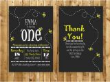 Bumble Bee 1st Birthday Invitations Bumble Bee Birthday Invitation and Free Thank by