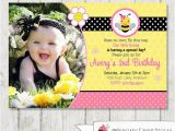 Bumble Bee 1st Birthday Invitations Pink Bumble Bee Birthday Invitation Bee by Printablecandee