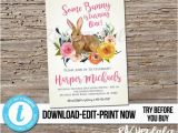 Bunny Birthday Invitation Template Editable some Bunny is Turning One Floral Rabbit 1st
