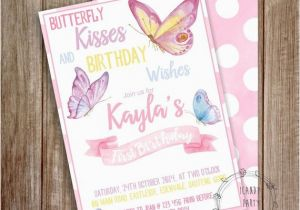 Butterfly First Birthday Invitations Invitation 1st
