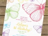 Butterfly themed Birthday Invitations Rainbow butterfly Birthday Invitation butterfly Birthday