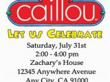 Caillou Birthday Invitations Caillou Birthday Invitations 12 Pcs