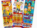 Caillou Birthday Invitations Caillou Birthday Party Invitation Ticket Custom Photo