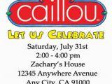 Caillou Birthday Party Invitations Caillou Birthday Invitations 12 Pcs
