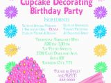 Cake Decorating Birthday Party Invitations Cupcake Decorating Invitations Cupcake Party Baking