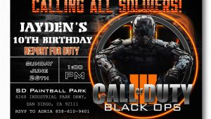 Call Of Duty Birthday Party Invitations Black Ops Birthday Invitations Invitation Librarry
