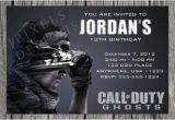 Call Of Duty Birthday Party Invitations Printable Call Of Duty Invites Call Of Duty Party