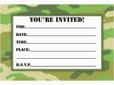 Camo Birthday Card Template Camouflage Birthday Invitations Printable Free Download