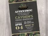 Camo Birthday Invites Camo Birthday Invitation Camo Invitation Camouflage