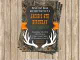 Camo Birthday Invites Camo Boy Hunting Deer 4 Birthday Party Printable Invitation