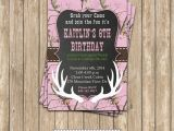 Camo Birthday Invites Camo Girl Hunting 6 Birthday Party Printable Invitation 5×7