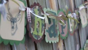 Camouflage Happy Birthday Banner Camo Happy Birthday and Cute Name Banner by Burleygirldesigns