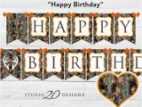 Camouflage Happy Birthday Banner Instant Download Camo Happy Birthday Banner Hunter orange
