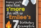 Campfire Birthday Party Invitations Campfire Birthday Party Invitation Kids Camping Cookout
