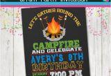 Campfire Birthday Party Invitations Campfire Bonfire Invitation Smores Invite Camping