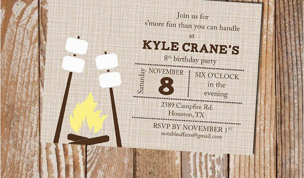 Campfire Birthday Party Invitations Smores Campfire Camping Birthday