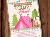 Camping Birthday Invites Backyard Camping Party Invitation for A Girl Summer