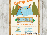 Camping Birthday Invites Boys Camping Party Invitation Barn Wood Personalized
