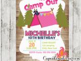 Camping Birthday Invites Camping Birthday Invitation for Girls Rustic Wood