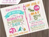 Camping Birthday Invites Girl Camping Birthday Invitation Diy Printable Camp Birthday