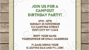 Camping themed Birthday Party Invitations Camping Party Invitations Template Birthday Party