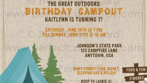 Campout Birthday Invitations Campout Camping Birthday Invitation