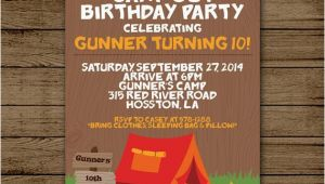 Campout Birthday Party Invitations Camp Out Birthday Invitation Camping Birthday Party