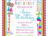 Candy Shoppe Birthday Invitations Candy Birthday Invitations Candy Sprinkle Sweet Shoppe