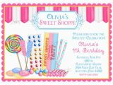 Candy Shoppe Birthday Invitations Candy Birthday Invitations Sweet Shop Invitations Candy