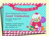 Candy Shoppe Birthday Invitations Candy Party Invitation Printable My Little Sweet Shoppe
