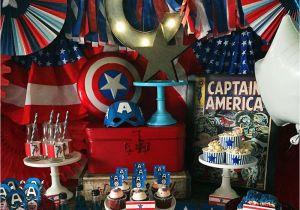 Captain America Birthday Decorations Captain America Birthday Party Ideas Photo 5 Of 19