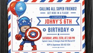 Captain America Birthday Party Invitations Captain America Birthday Invitation Download