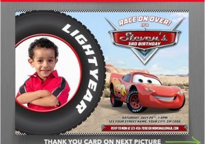 Car Themed Birthday Cards Disney Cars 7x5 In Party Invitation With Free