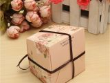 Card Box for Birthday Party 10pcs Floral Printed Ribbon Card Candy Box Birthday Gift